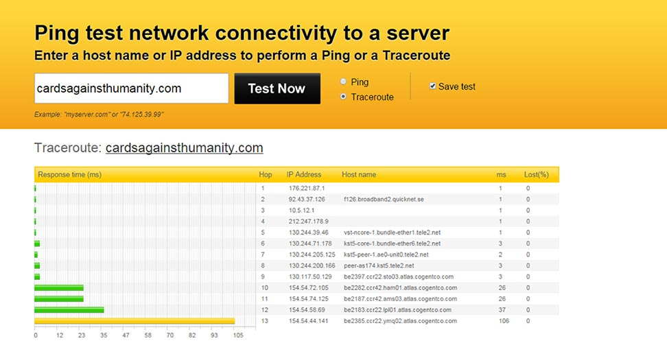 Pingdom traceroute Bluehost